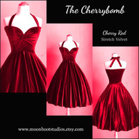 "Cherry RED Velvet Cherrybomb Halter Valentines Day Party Dress 43"" Mid Calf Length by HARDLEY DANGEROUS Rockabilly 50s Pin Up Mod Bridesmaid"