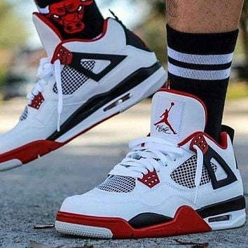 Air Jordan 4 Retro Women Men Fashion Casual Sneakers Sport Shoes