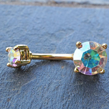 Gold Belly Button Ring Aurora Borealis Crystals