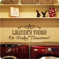 laundry today or naked tomorrow quote wall decal zooyoo8032 decorative adesivo de parede removable vinyl wall sticker