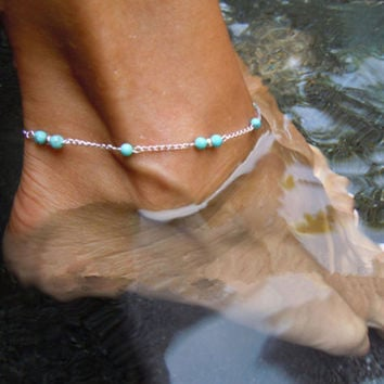 2015 Sexy Simple Handmade Blue Bead Silver Chain Anklet Foot Leg Link Bracelet