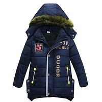 2017 New baby boy coat jacket children hooded jacket baby winter warm clothes fashion coat long Children fashion coat Kids coat