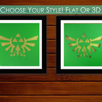 Legend of Zelda Triforce Cutout Print // Original 12x12 Cutout 3D Print for Home, Dorm, or Office Decor and Gifts