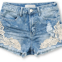 Almost Famous Crochet Side High Waisted Shorts