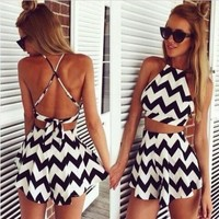 2015 New Fashion Womens Summer Wear Striped and print sexy and mini dress Sexy night club backless dress Tops and skirt = 5657570689