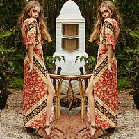 Fashion Boho Print Hollow V-Neck Backless Short Sleeve Split Chiffon Maxi Dress