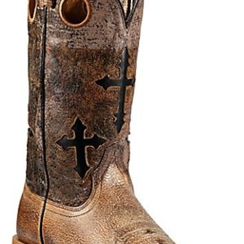 Ariat® Ranchero™ Men's Quicksand Tan w/Crosses on Brown/Black Eclipse Top Double Welt Square Toe Western Boots