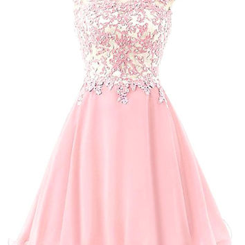 Elegant Pink Lace Homecoming Dress Off Shoulder Style