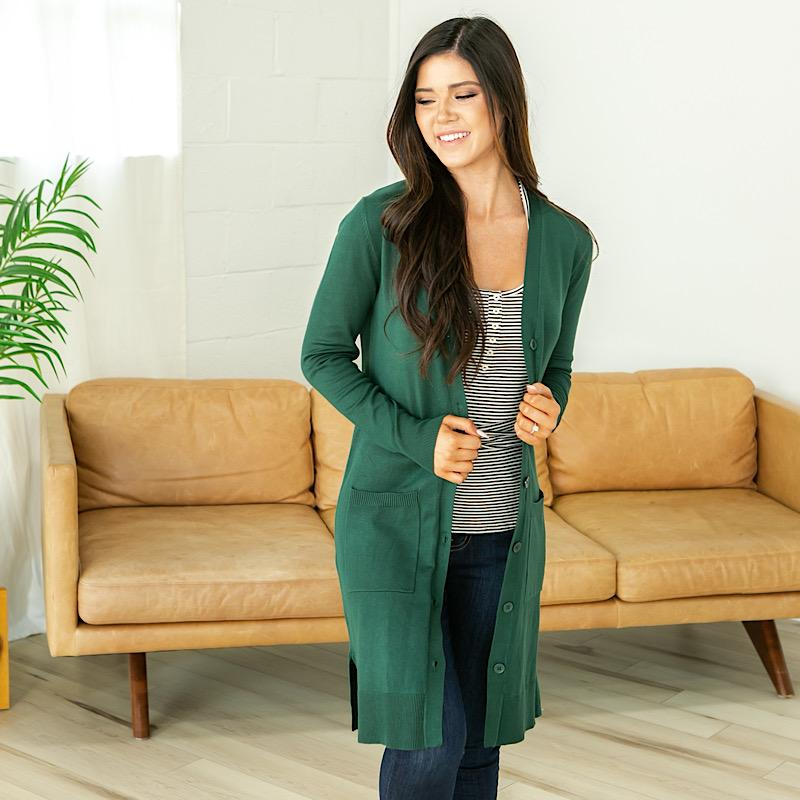 Image of Long Button Up Cardigan - Hunter Green