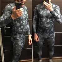 Men's Compression Sportswear Running jogging Suits Clothes Sports Set Long t shirt And Pants Gym Fitness workout Tights clothing