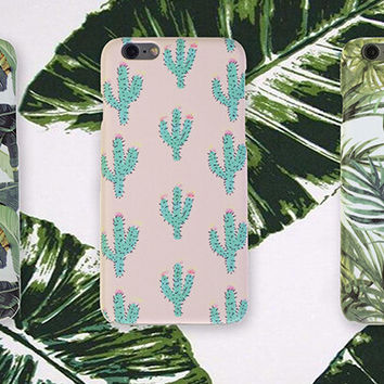 Vintage Coconut Leaves Banana Leaf Cactus Case Cover for iPhone 5se 5s 6 6s Plus