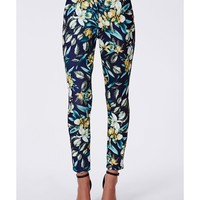 Missguided - Amella Tropical Print Scuba Trousers Navy