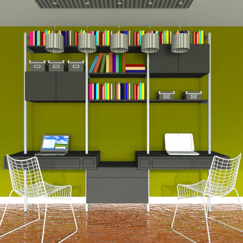 """109"""" Three Bay Double Floating Desk with Lateral File, Upper Cabinets and Shelves"""