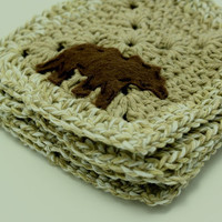 Crochet Coasters with Felt Bear accent  Cabin by BessiesCreations