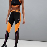 Puma Exclusive To Asos Panelled Legging In Black And Orange at asos.com