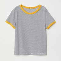 Short T-shirt - White/striped - Ladies | H&M US