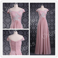 Newest Bridesmaid/Party/Evening/Prom/Formal Dress Chiffon 2014 A-Line Off-the-shoiulder Appliques Chiffon Zipper Ruffle Sweep Train Dresses