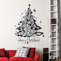 Christmas Tree Decorations Wall Decals Holiday Home Window Decor Sticker MR849