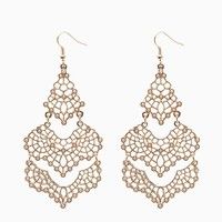 Pearl Pave Accented Filigree Drop Earrings