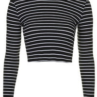 Stripe Rib Funnel Top - Navy Blue