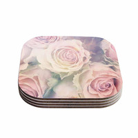 "Suzanne Carter ""Faded Beauty"" Blush Floral Coasters (Set of 4)"