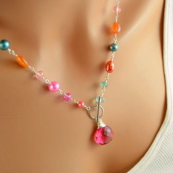 NEW Coral Pink and Orange Necklace, Sterling Silver Toggle, Blue Topaz, Orange Garnet Gemstones, Freshwater Pearl Jewelry, Free Shipping