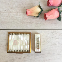 Lipstick Case and Compact Vintage Rhinestone and Mother of Pearl by Weisner of Miami, 1950s Compact, Weisner Lipstick Case, Lipstick Holder