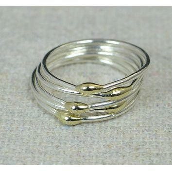 Unique Silver and Solid 14k Gold Stacking Ring