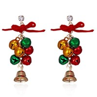 Fashion Christmas Gifts Mixed Color Jingle Bells Long Earrings For Women Girls Chandelier Earring Ornaments New Year Gifts