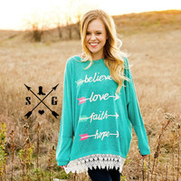 Inspirational Arrows on Turquoise Loose Tunic