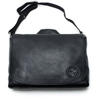 Gucci Black Soho Leather Diaper Bag New Authentic w Changing Pad