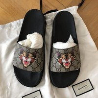 Gucci New Fashion Slides Brand Slippers Tiger Couple Shoes