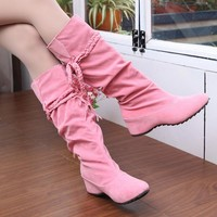 Plush Lined Braided Rope Tie Suede-Look Knee High Boots