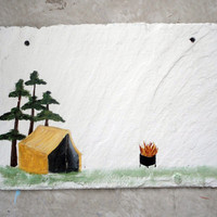 Camping sign on slate with tent and fire ring you personalize