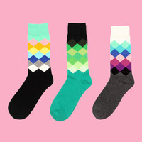 Argyle Pattern Sock Set (Set of 3)