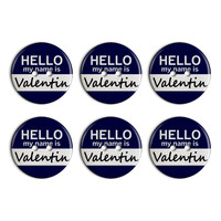 Valentin Hello My Name Is Plastic Resin Button Set of 6
