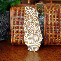 Wooden Printing Block: Hand Carved Indian Woman Textile Stamp, India Ceramic Tile Pottery Stamp, Wall Hanging, Plaque