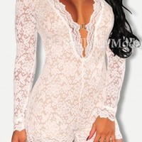 Long Sleeved White Lace Romper with Lining One