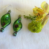 Green Spiral Earrings Modern Style Green Glass Foil Lamp Work Bead and Freshwater Pearl Spring St. Patrick's Day Earrings Easter Jewelry