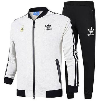 ADIDAS Clover autumn and winter new long-sleeved jacket running casual jacket two-piece White