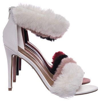 Dashing47 Faux Fur High Heel Stiletto Sandal - Synthetic Fluffy Dress Shoes