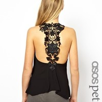 ASOS PETITE Exclusive Tank With Crochet Detail Back