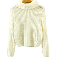 Beige Turtleneck Knitted Sweater