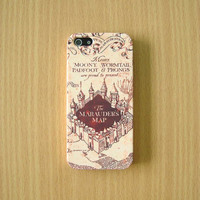 Marauder's Map iPhone Case Harry Potter iPhone Case Hogwarts Case iPhone 5S iPhone 5 iPhone 5C Samsung Galaxy S4 iPhone plastic hard case