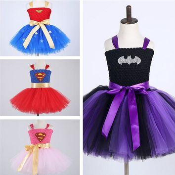 Amazing Spiderman Super Hero Costume Hand Crochet Kids Cosplay Halloween Party Tutu Dress for Girls Stage Performance Costume