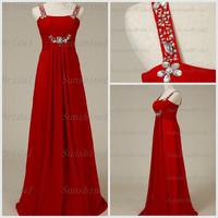 Real A-line Straps Sleeveless Floor-length Chiffon Beading Red Long Bridesmaid Dresses Prom Dresses Evening Dresses 2014 New Arrival