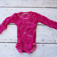 Lace Onesuit - Baby Lace Onesuit - Long Sleeve Lace Body Suit - Pink Lace Onesuit - Infant lace Onesuit- Newborn Pink Onesuit