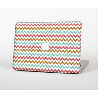 "The Vintage Brown-Teal-Pink Chevron Pattern Skin Set for the Apple MacBook Pro 13"" with Retina Display"