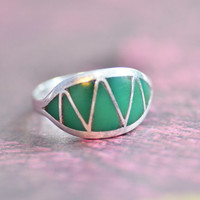 Vintage Zuni Turquoise Inlay Sterling Silver Ring, Lorrie and Marcie Kallestewa, Size 6.5, Native American, Southwestern, Womens Jewelry