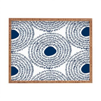 Camilla Foss Circles In Blue II Rectangular Tray